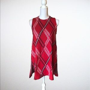 Crown & Ivy Navy & Red Side-Slit Plaid Tunic - XS